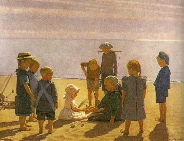 Children Playing on Skagen Beach, Einar Hein